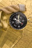 Old compass and rope Stock Image
