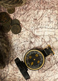 Old compass and rope on grunge background Stock Photos