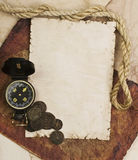 Old compass and rope on grunge background Stock Images