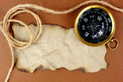 Old compass, rope and  space for text. Old compass and rope and blank brown paper for text Royalty Free Stock Photography