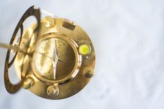 OLD COMPASS WITH SUN CLOCK FOR NAVAL stock photography