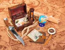 Old compass, treasure chest, knife Stock Images