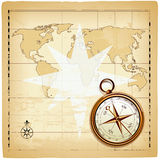 Old compass on vintage map. Vector illustration Royalty Free Stock Photos