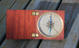 Old compass in a wooden box. Royalty Free Stock Images