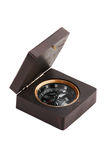 Old compass in a wooden sheath Royalty Free Stock Photos