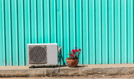 Old compressor air-conditioner and Flower Pot Stock Images
