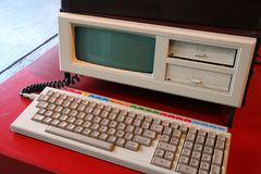 Old Computer. With builting screen and keyboard attached Royalty Free Stock Image