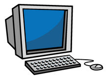 Old computer. Cartoon illustration of an old computer & monitor Royalty Free Stock Images