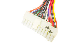 Old computer cable on white background, Colored electrical cables and wires.  Stock Photography
