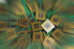 Old computer cpu processors with ram memory modules. Stock Images