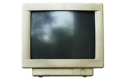 Old computer crt monitor. Isolated old computer crt monitor white background Stock Photos