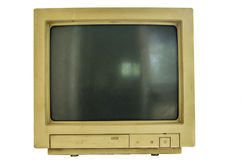 Old computer crt monitor. Isolated old computer crt monitor white background Stock Image