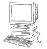 Old computer desktop   line art illustration Stock Photography