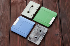 Old computer disk and audio tape Royalty Free Stock Photo