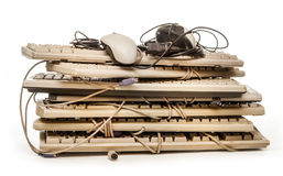 Old computer hardware and keyboards Stock Image
