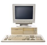 Old computer, keyboard CPU and monitor Stock Photos