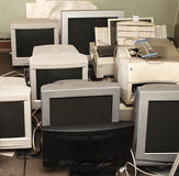 Old computer monitors. Gathered on the floor royalty free stock image