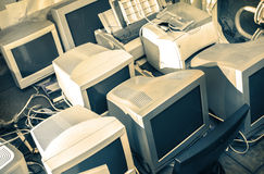 Old computer monitors stock photography