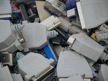 Old computer parts, jacks in close up. The image is made from the electronic waste disposal Royalty Free Stock Photos