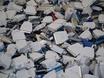 Old computer parts, jacks. The image is made from the electronic waste disposal Royalty Free Stock Images