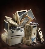 Old computers. Stack of old and obsolete computer equipment Stock Images
