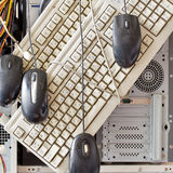 Old computers and computer accessories for electronic recycling. Dirty old computers, keyboard, mouse for electronic recycling royalty free stock image