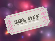 Old concert vector vintage paper sale coupon with code Royalty Free Stock Photos