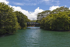 Old concrete Bridge over inlet  in Hilo Royalty Free Stock Photos