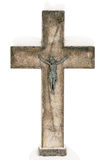 Old concrete cross. Covered with snow isolated on white background royalty free stock image