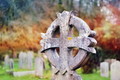 Old concrete cross in british cemetery. Close up stock images