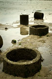 Old Concrete Drainage Pipe at the beach Royalty Free Stock Photography