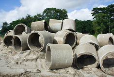 Old concrete drainage pipes Royalty Free Stock Image