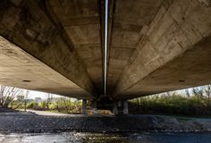 An old concrete highway bridge in Czech Republic Royalty Free Stock Image