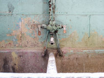 Old concrete laundry sink and faucet Royalty Free Stock Photos