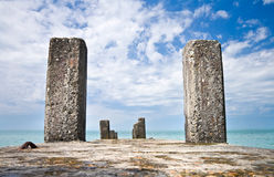 Old concrete pier. With columns on Black Sea coast. Russia, Sochi, Adler Royalty Free Stock Images