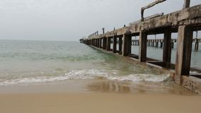 Old concrete pier. In Rayong Thailand stock video