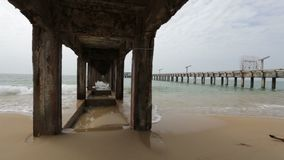 Old concrete pier. In Rayong Thailand stock footage