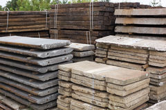 Old concrete sleepers. Depo with stack of old railways concrete sleepers Stock Photos