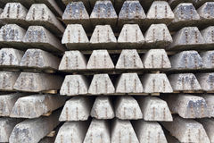 Old concrete sleepers. Depo with stack of old railways concrete sleepers Stock Images