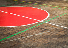 Old concrete sport parquet court in sport Hall Royalty Free Stock Photography