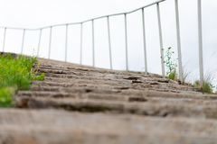 Old concrete stairway to heaven with railings stock image