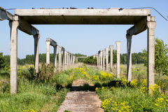 Old concrete structures. In the green grass Stock Images