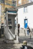 Telephone box in Lisbon royalty free stock images