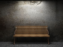 Old concrete wall and bench Royalty Free Stock Image