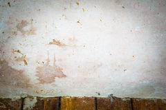 Old concrete wall and wooden floor interior Stock Photo