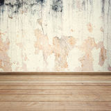 Old Concrete walls and wood floor for text and background. Stock Image