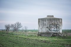 Old concrete water storage, Ukraine. Graffiti on an old water storage Stock Image