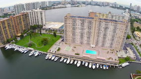 Old condominium building in Miami stock video