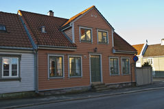 Old conservation house in Halden. In Halden, there are many old houses, most of the houses are from after 1826 when a major fire put almost the entire city Royalty Free Stock Photo
