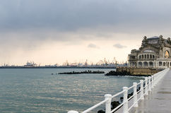 Old Constanta Casino and Harbor viewed from seafront Royalty Free Stock Photos